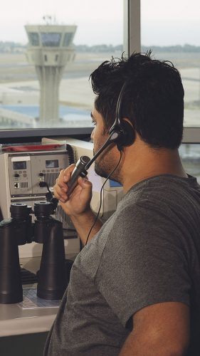 flight controller working in the flight control tower.