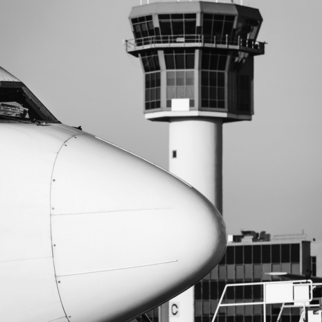 Italy, Naples International Airport, airplane and Control Tower